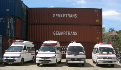 containers and 4ambulances